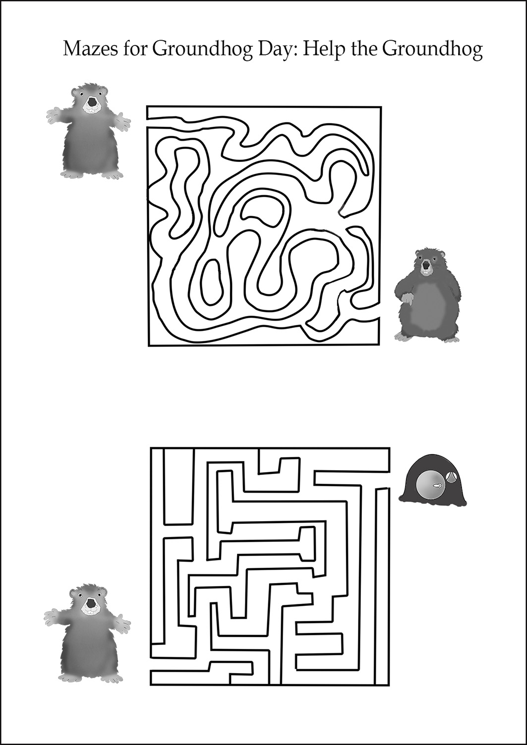 groundhog day mazes for kids