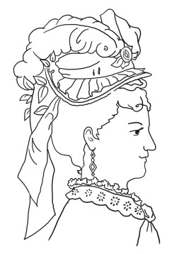 Victorian coloring page ladies' hat