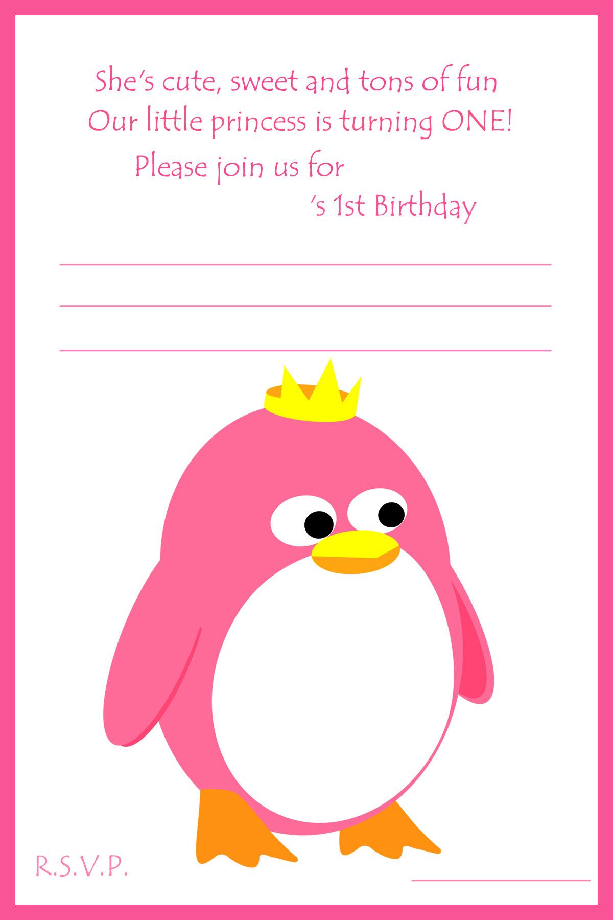 penguin 1st birthday invitation