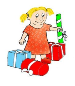 birthday clip art girl with gifts
