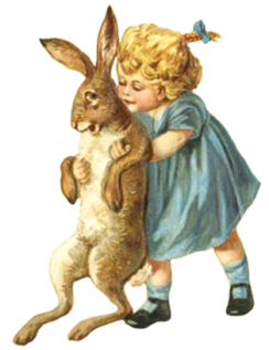 free Easter clip art with child and hare