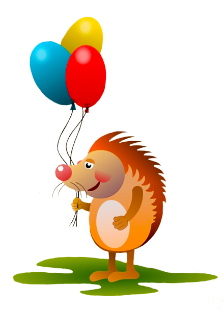 hedgehog with birthday balloons