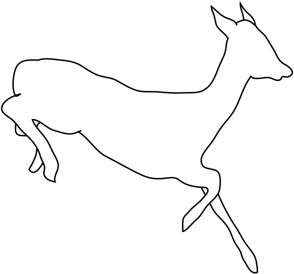 silhouette sketch of deer running
