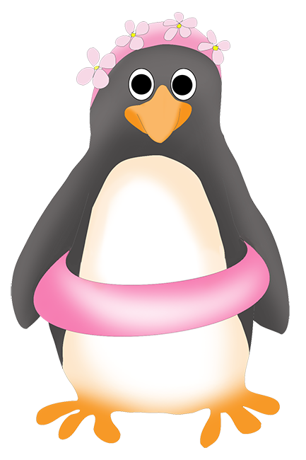 penguin with swimming ring