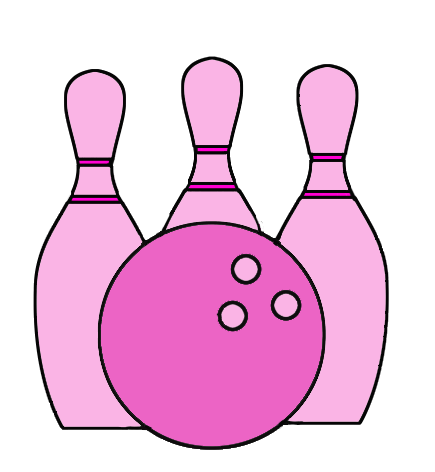 very pink bowling cones and ball