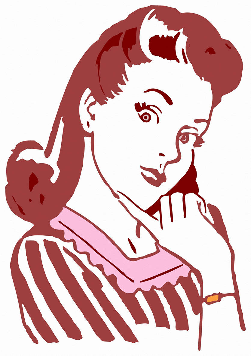 vintage clip art woman red hair
