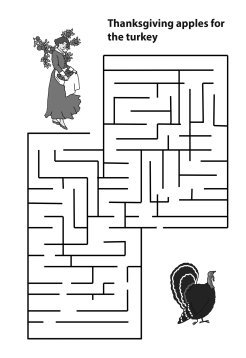 maze with Thanksgiving apples for the turkey