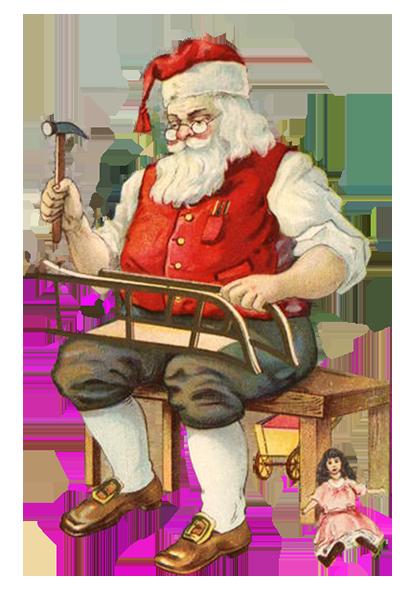 Santa working in his workshop