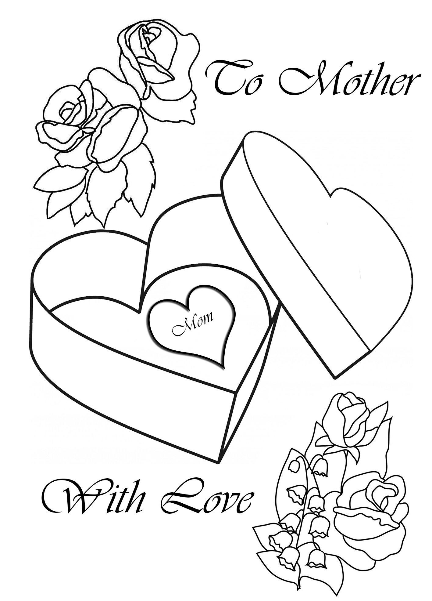 to mother with love coloring pages