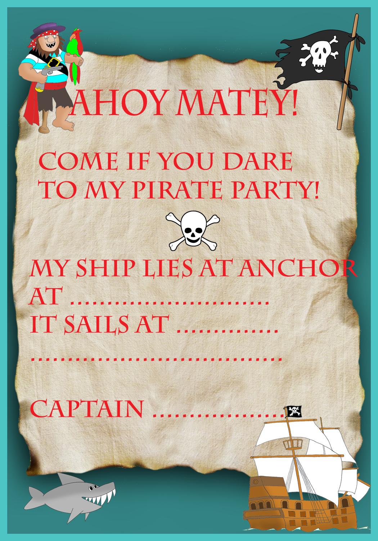 pirate treasure map invitation for birthday