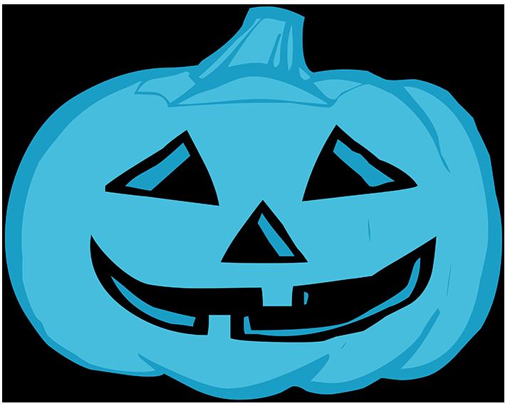 blue pumpkin head for Halloween