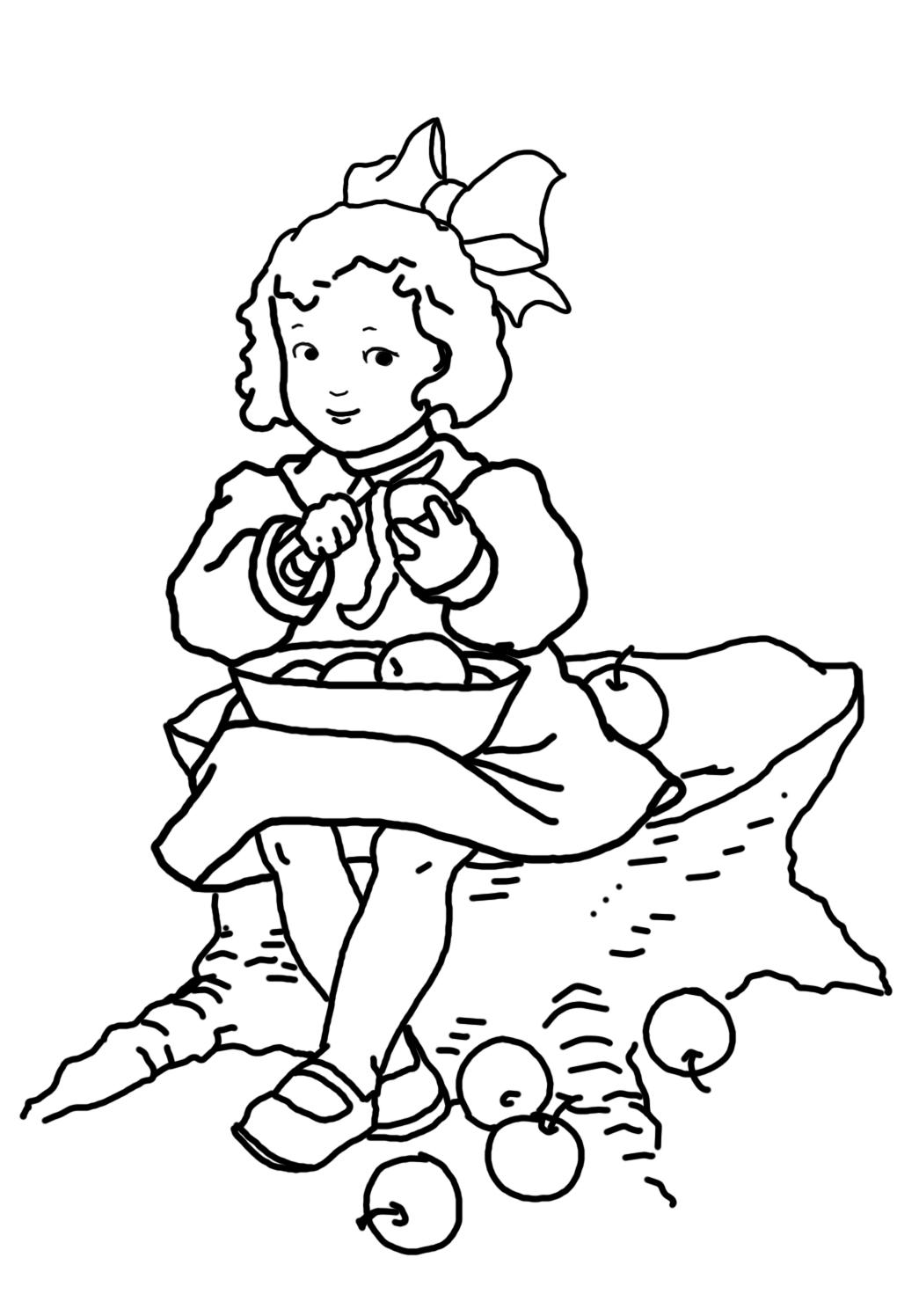 Coloring sheet girl peeling apples