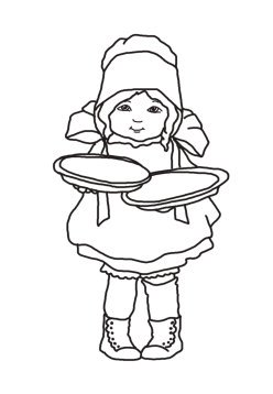 pilgrim girl with thanksgiving pies