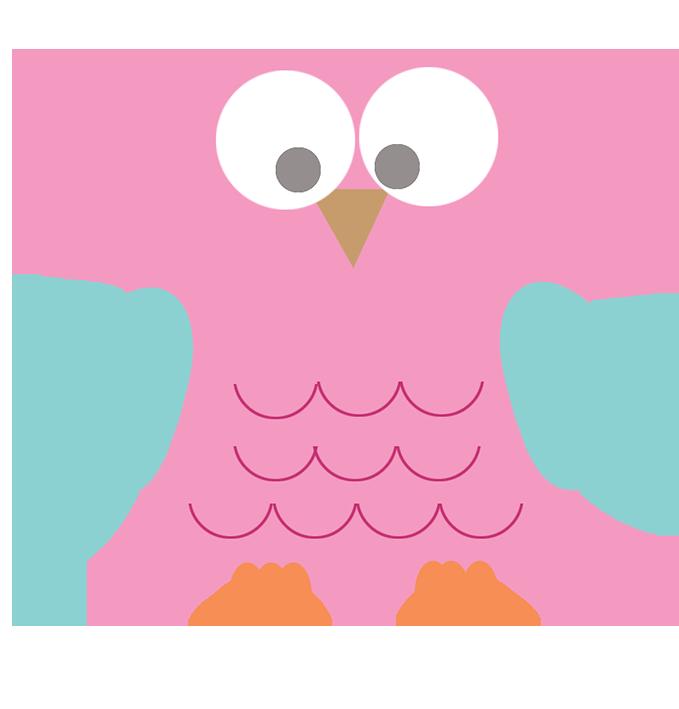 pink square owl clip art