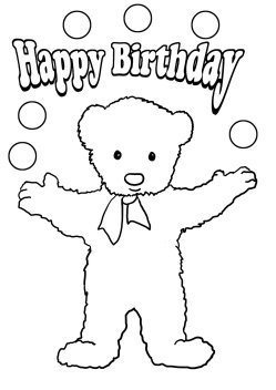 coloring pages to print birthday tedd bear