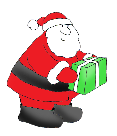 free Christmas clipart Santa with present