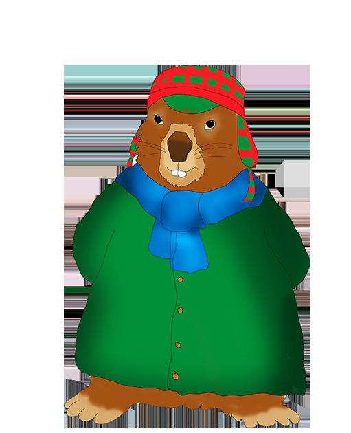 winterdressed groundhog clip art