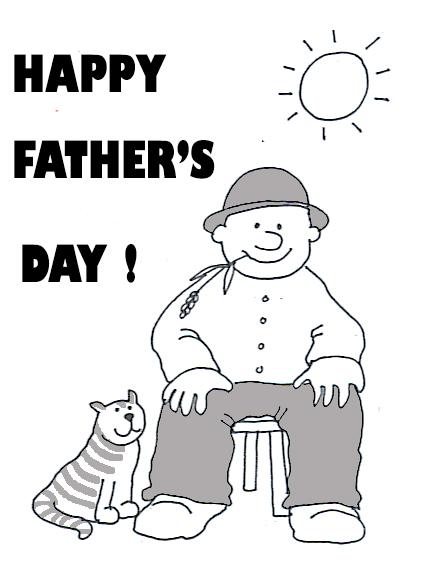 happy fathers day cat man sun
