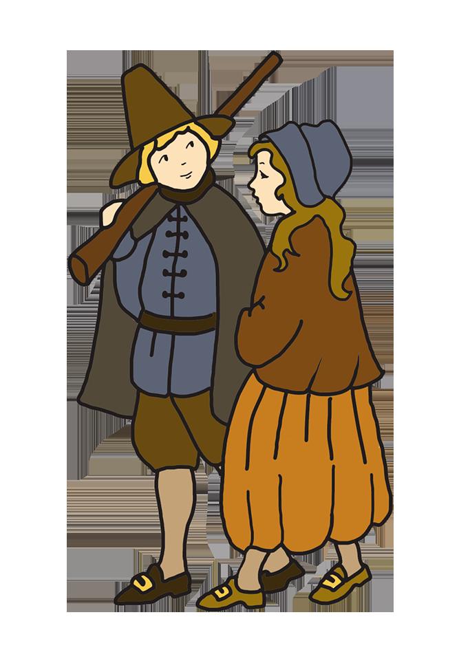Thanksgiving drawing pilgrim boy and girl