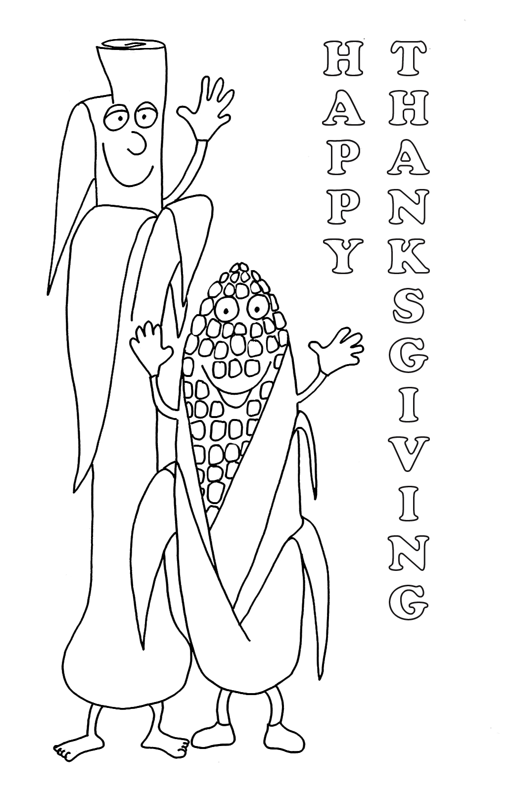 Thanksgiving coloring pages corn and leek