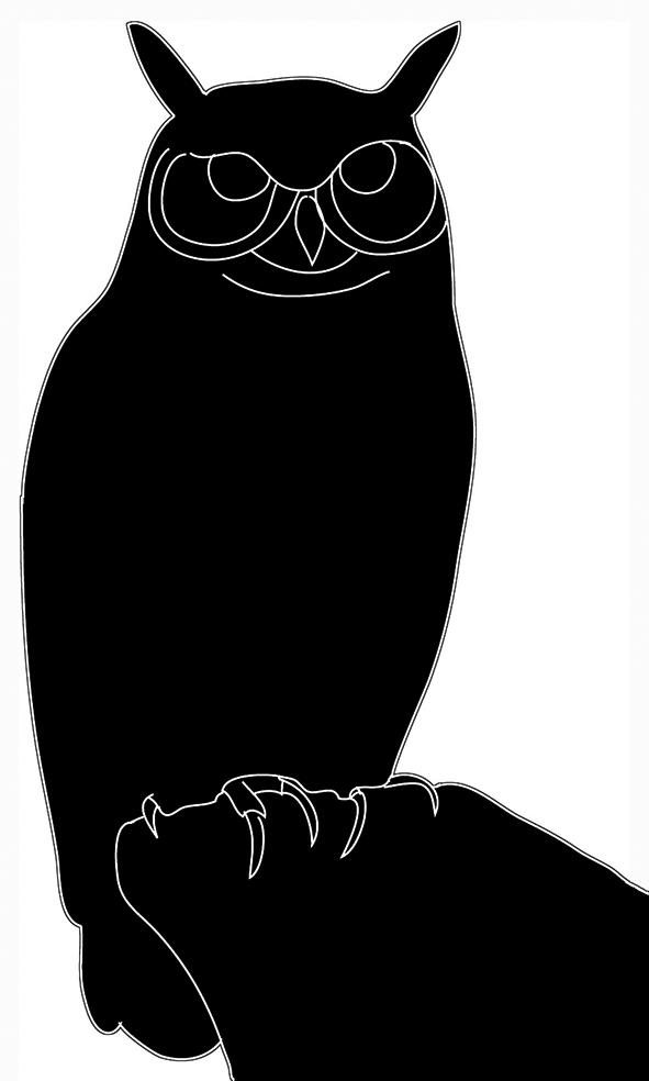 silhouette of Bubo black white