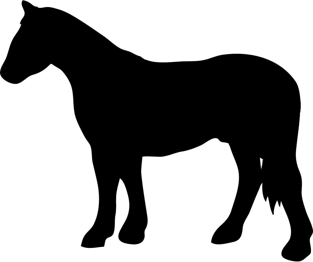 black silhouette of standing horse
