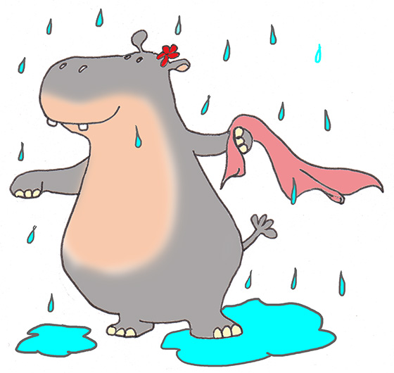 cartoon drawing of hippo in summer rain