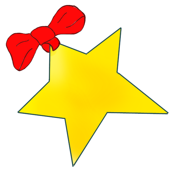 golden Christmas star with red bow