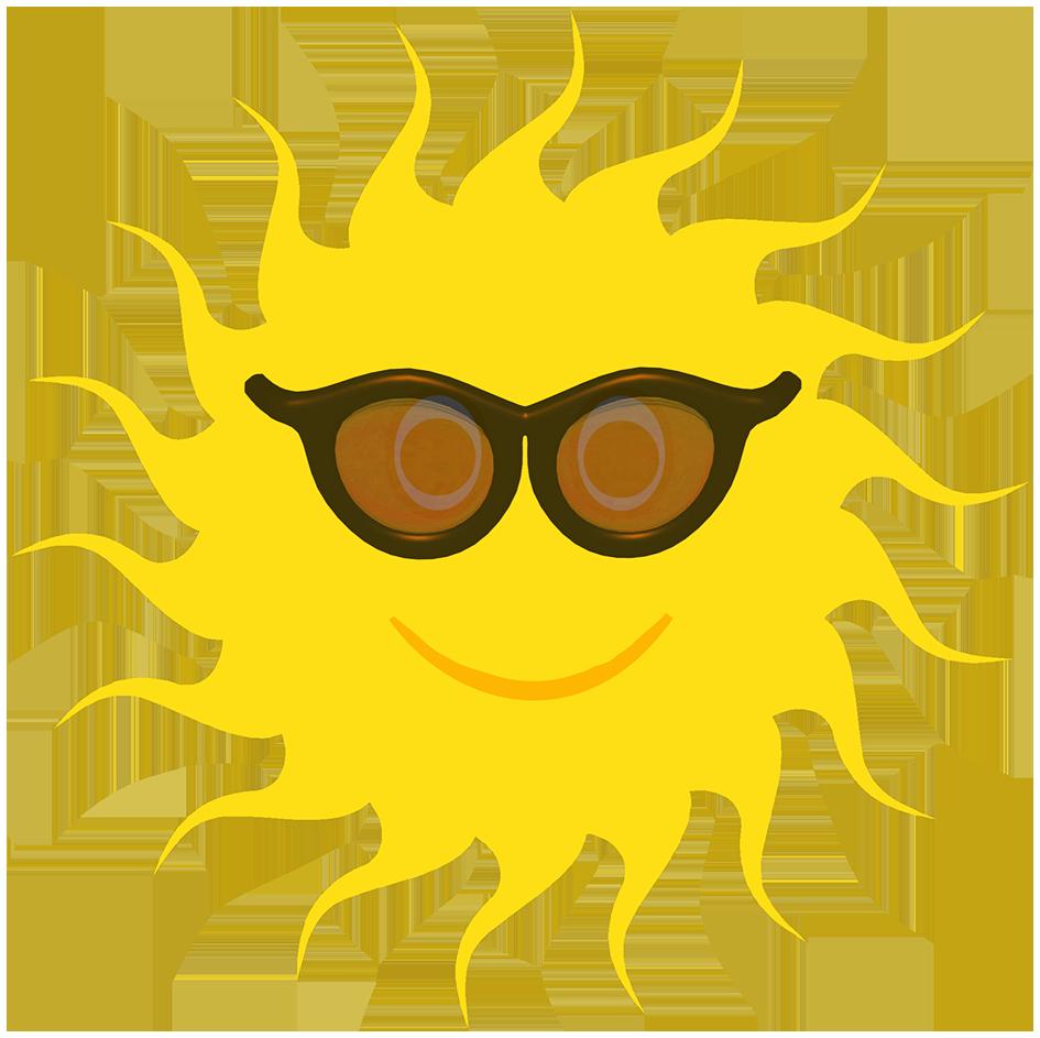 Yellow sun black sunglasses