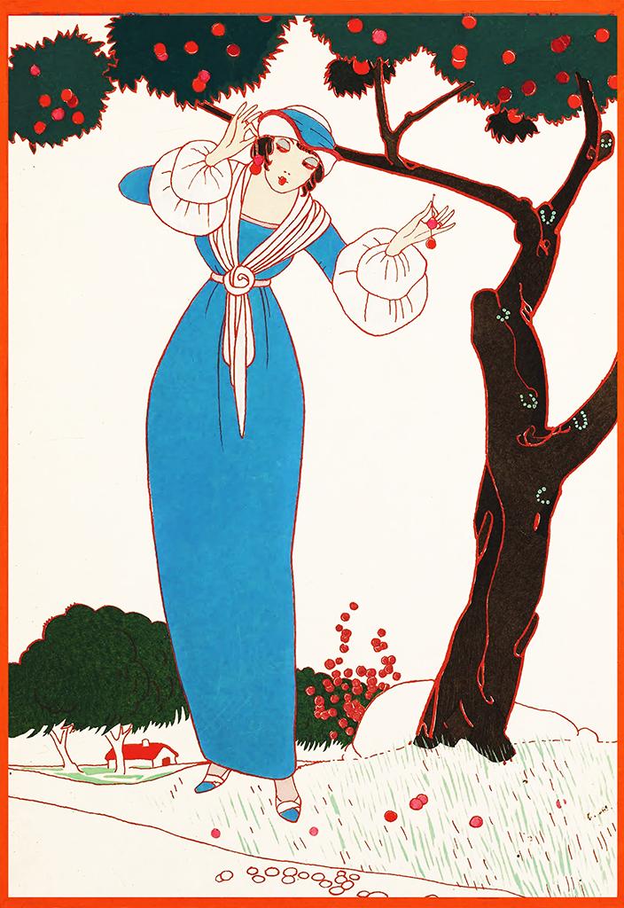 Woman with cherries art deco art nouveau