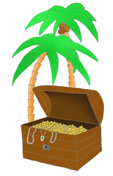 pirate treasure chest and palm treese