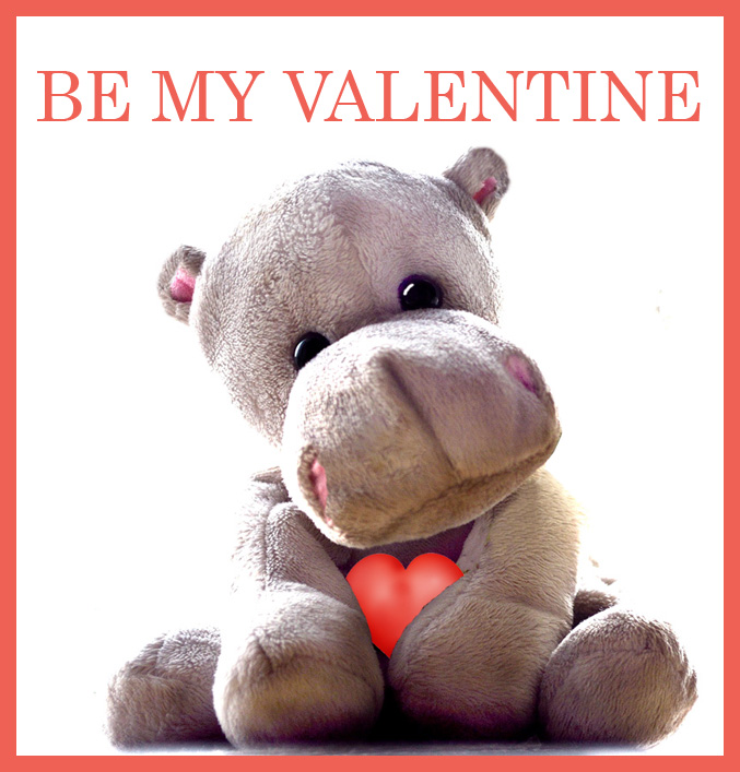be my Valentine greeting with cute hippo