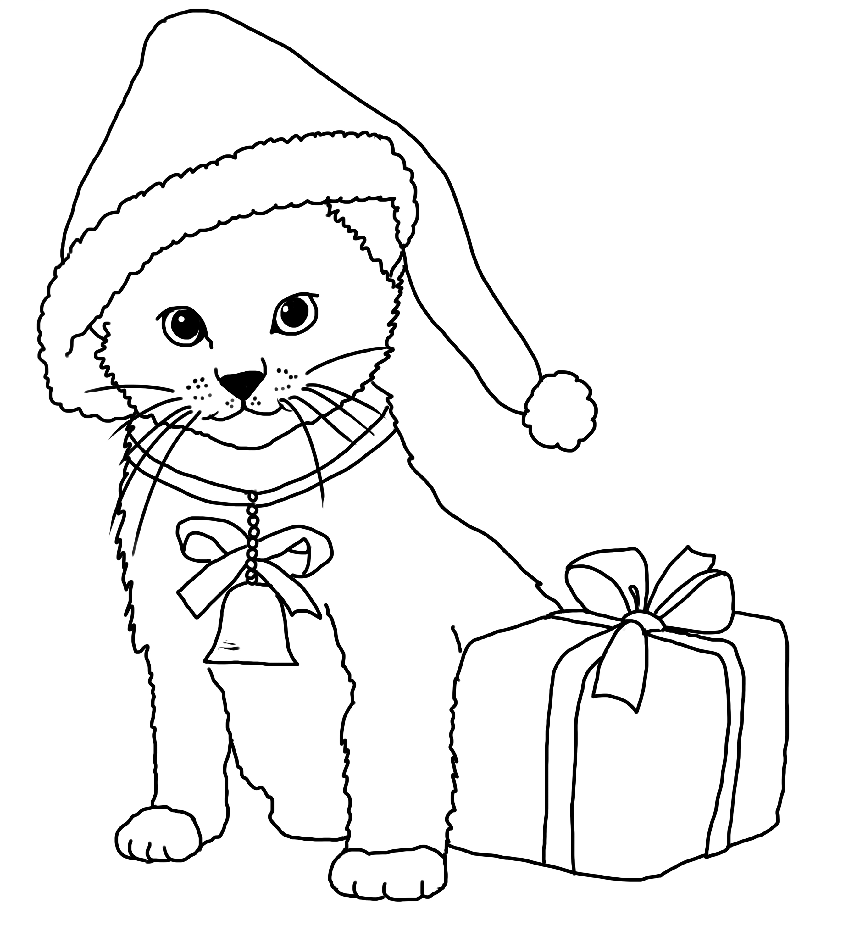 christmas coloring pages cats | Christmas Coloring Pages