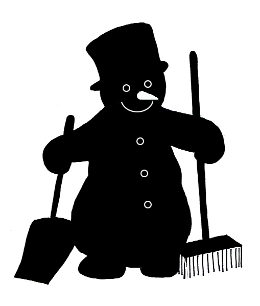 Snowman silhouette shovel broom