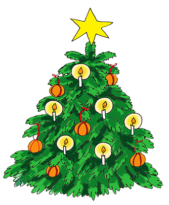 christmas tree clip art with candles