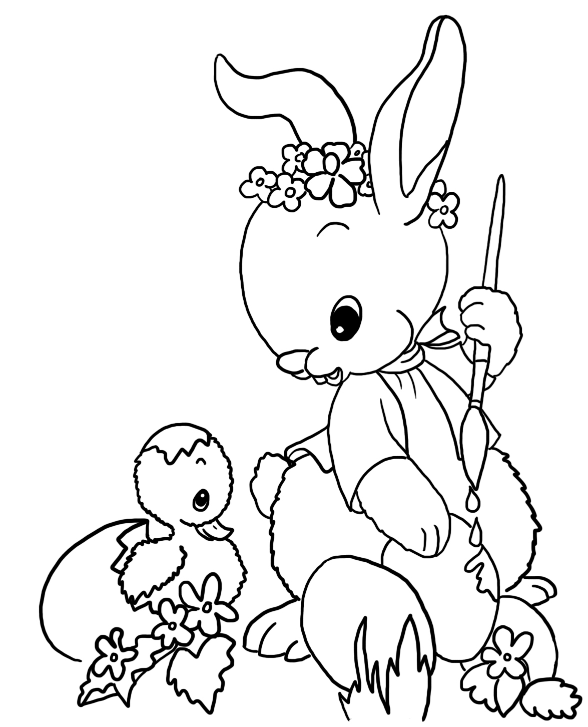 Easter bunny painting Easter eggs to color