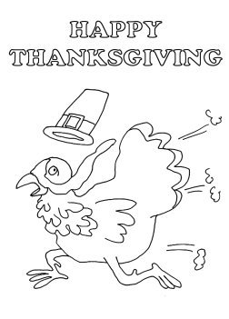 Thanksgiving coloring pages with running turkey bird