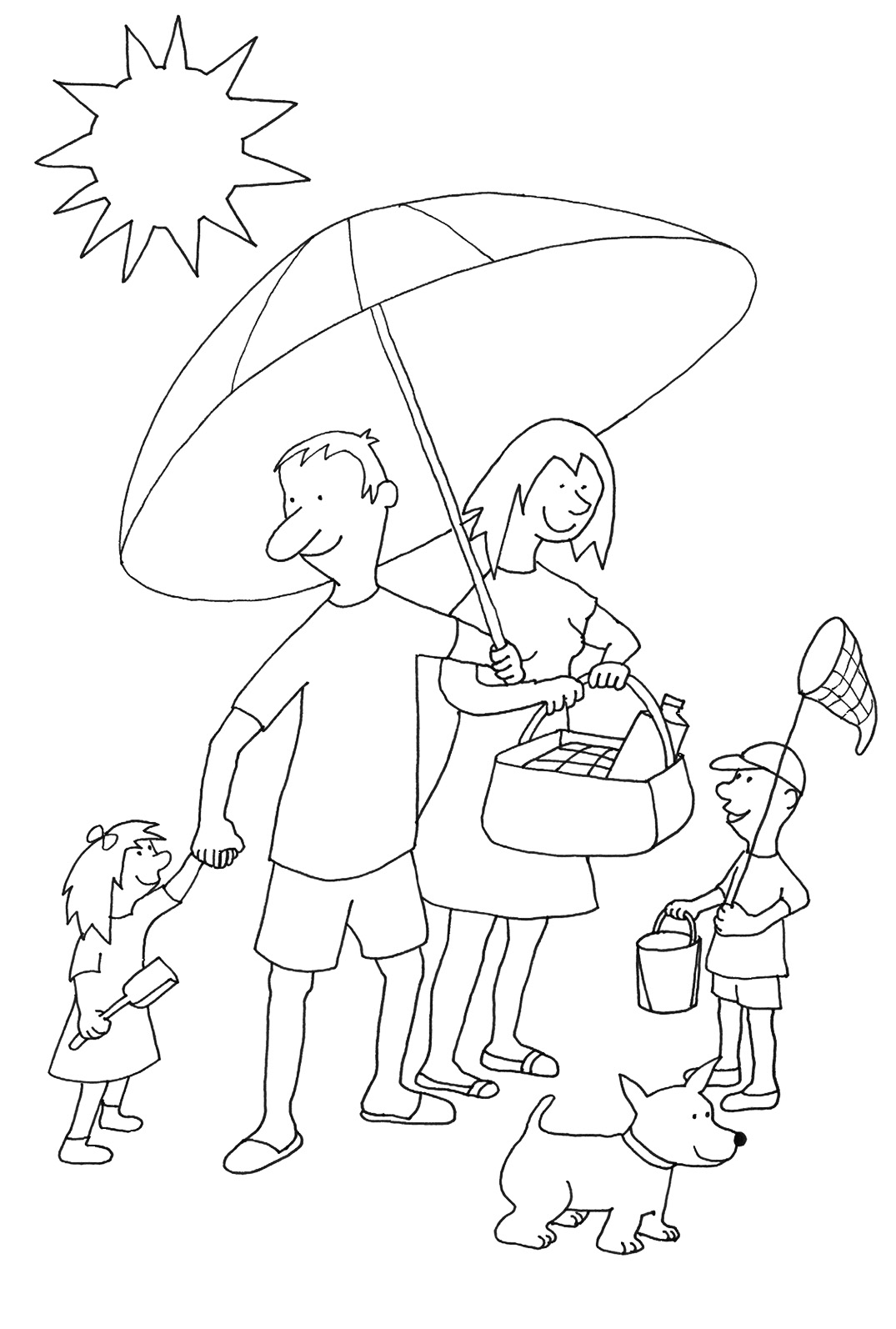 summer coloring pages family on beach