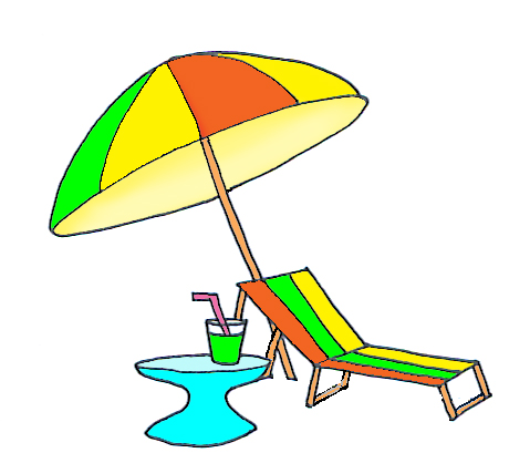 beach deck chair clipart