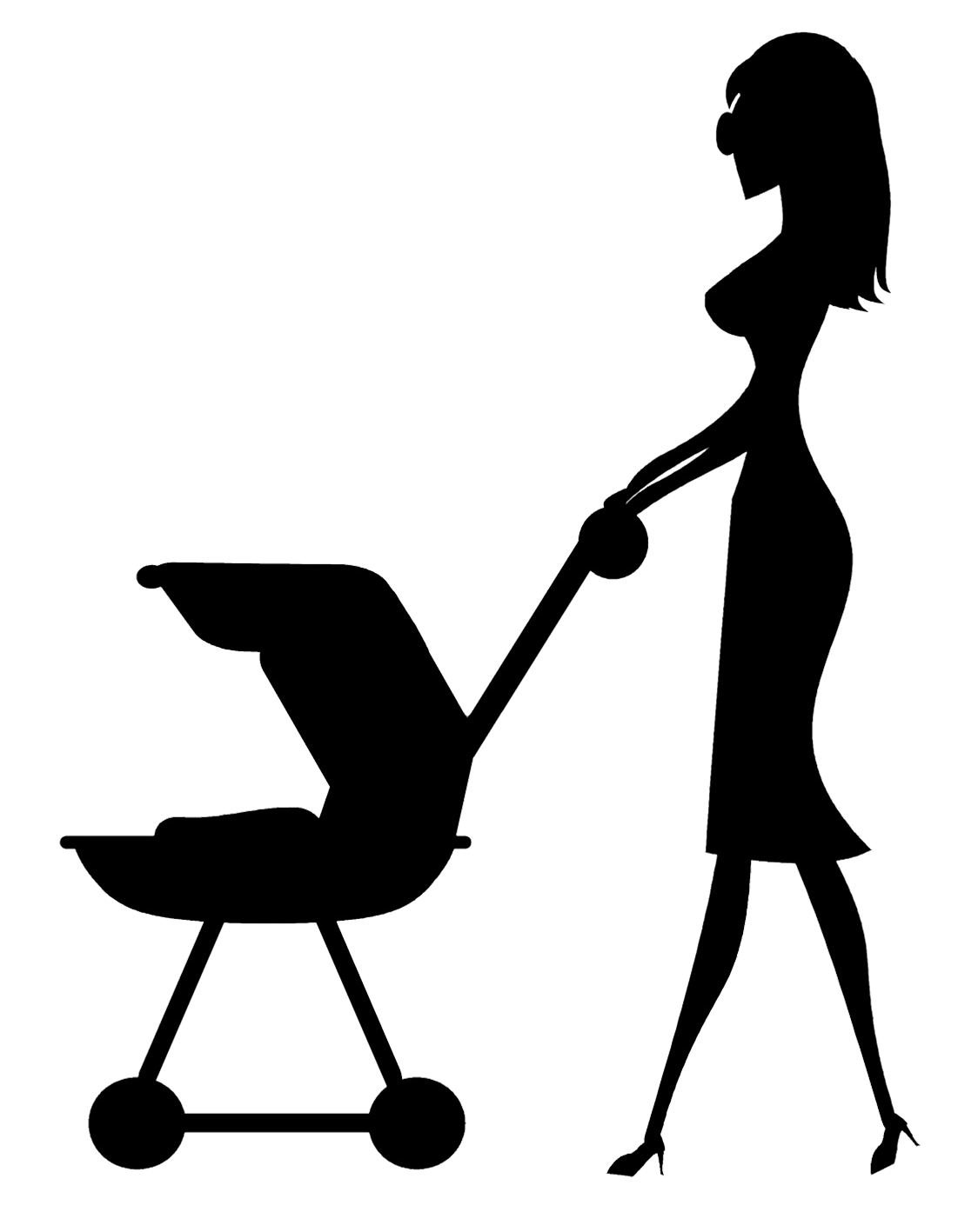 black silhouette of mother with stroller