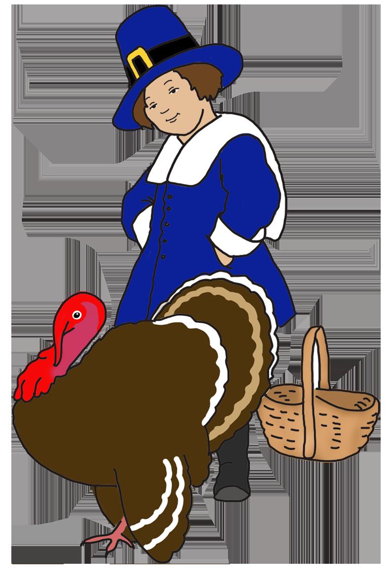 pilgrim boy with basket and turkey