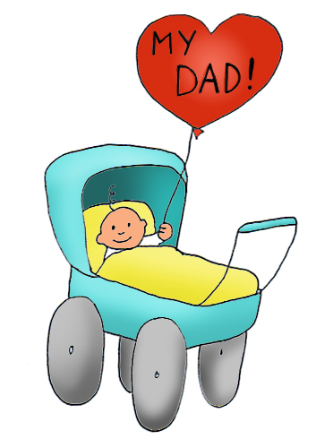 happy father's day baby in pram
