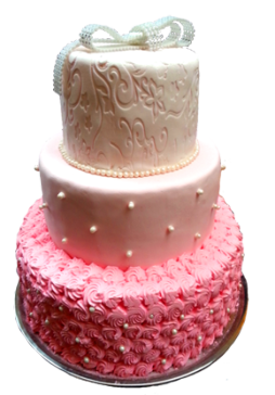pink wedding cake in layers