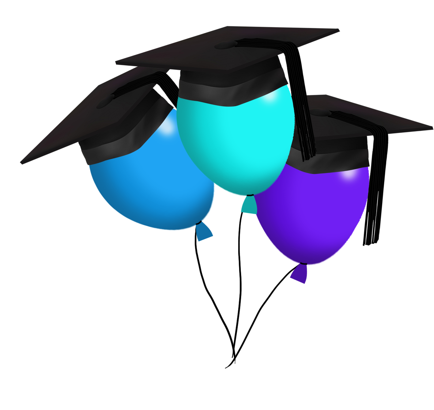 graduation clipart with balloons with caps