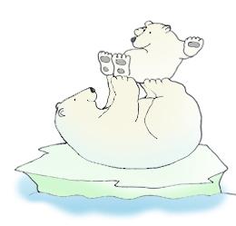 polar bear playing with cub drawing