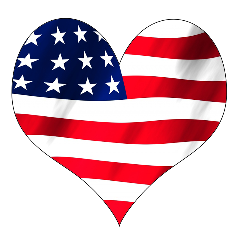 USA flag in a heart