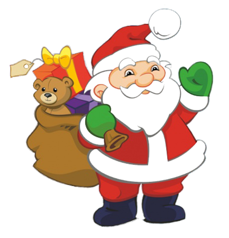 Funny Santa with sack with presents