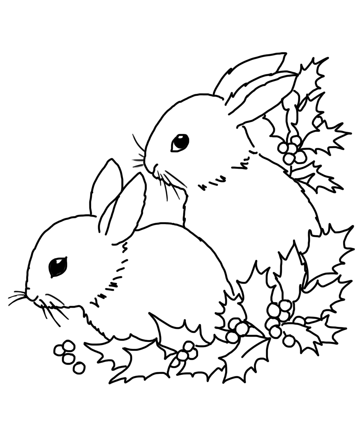 bunnies and holy for Christmas motive