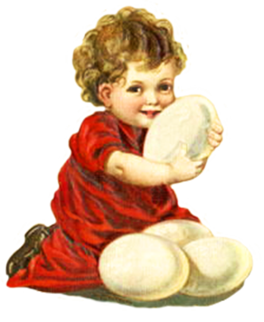 Easter clipart child with Easter eggs