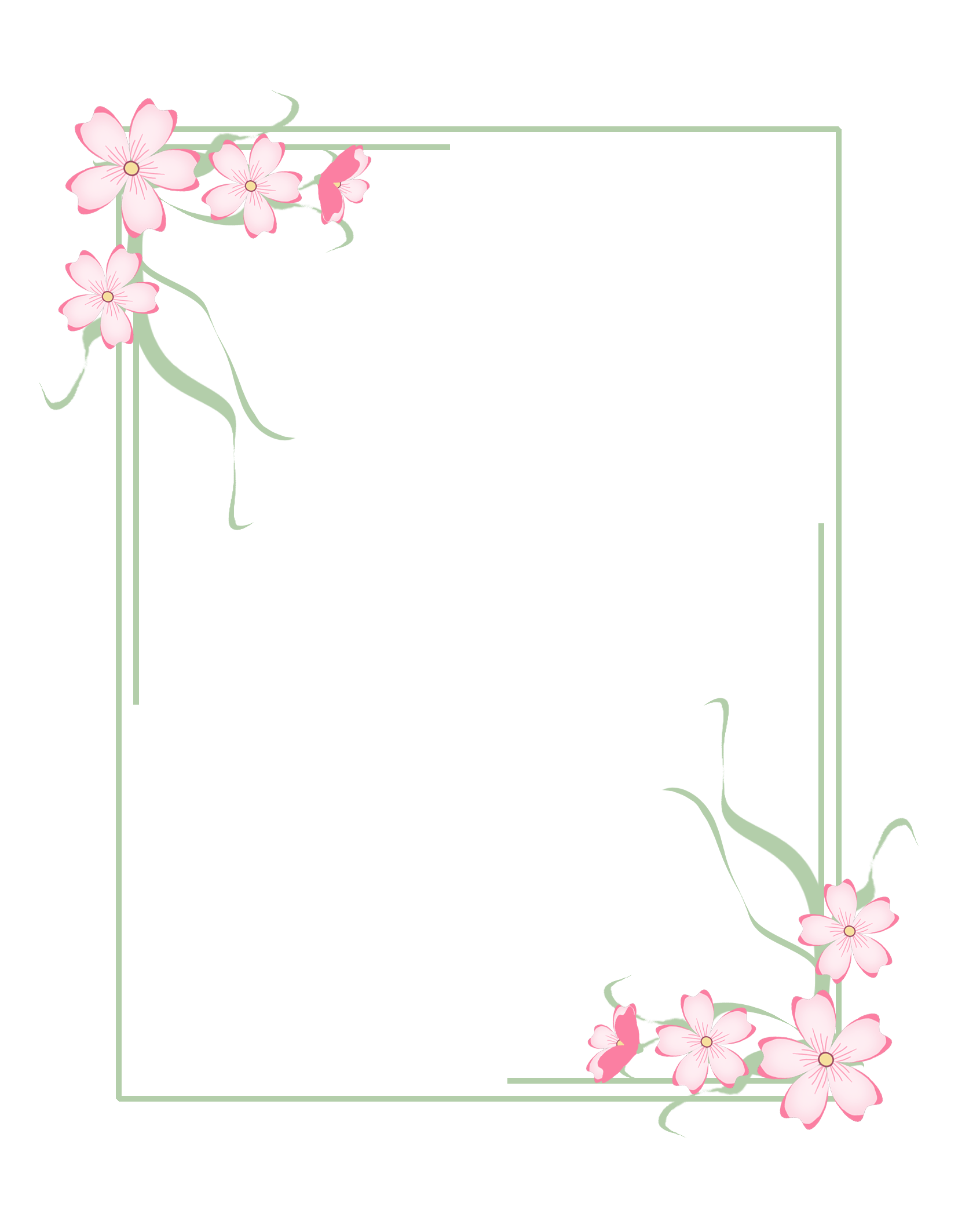 green frame pink flowers